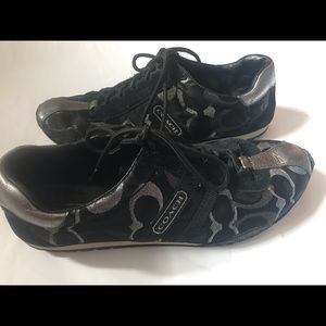 Coach Kate suede sneakers black signature 8